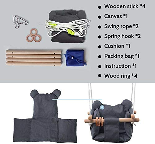 DILIMI Baby Canvas Hanging Swing Seat Toddler Secure Indoor Outdoor Hammock Toy Grey