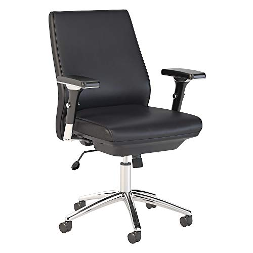 Bush Business Furniture Metropolis Mid Back Leather Executive Office Chair in Black