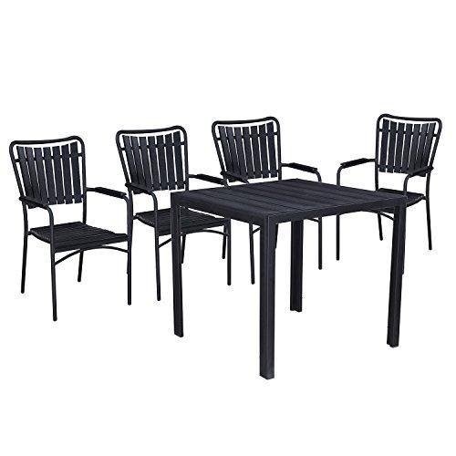 - Oakland Living AZ911-715(4)-BK Modern Outdoor Dining Set, Black