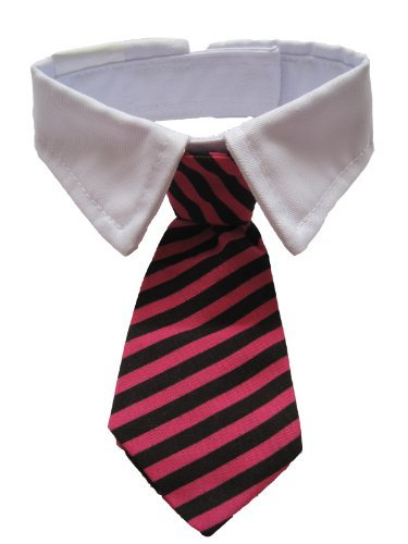 Leegoal Dog Cat Pet Stripe Bow Tie Neck Tie with White Collar (Roseo Black Stripes)