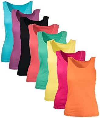 Womens Tank Tops, Basic Cotton Camisole Ribbed Tank Top Assorted Colors (7 Pack) (Small, Assorted