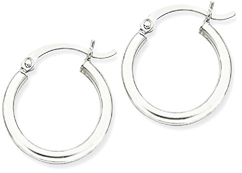 ICE CARATS 14k White Gold Lightweight Hoop Earrings Ear Hoops Set Round Classic Fine Jewelry Gift Set For Women Heart by ICE CARATS