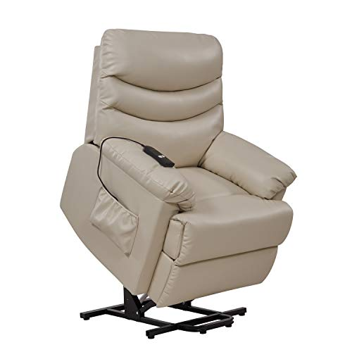 Domesis Olathe - Renu Leather Power Recline and Lift Chair, Cream