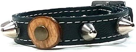 Superpipapo Pulsera con Pinchos, Todas Las Tallas, Diseño Original Artesano con Olivo y Cuero Azul