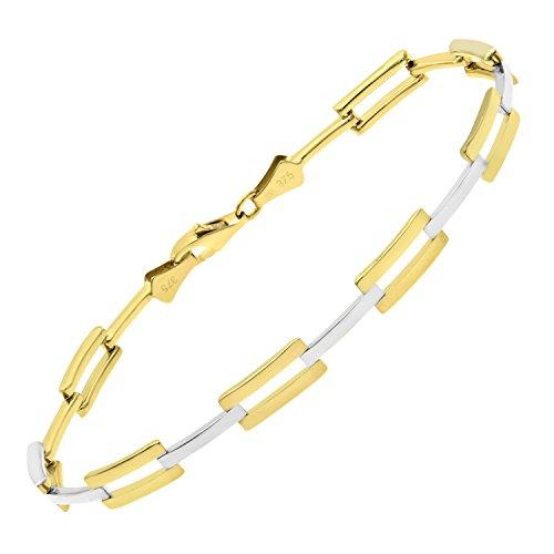 Revoni Bague en or jaune et blanc 9carats-Bar Bracelet Lien de longueur 19cm