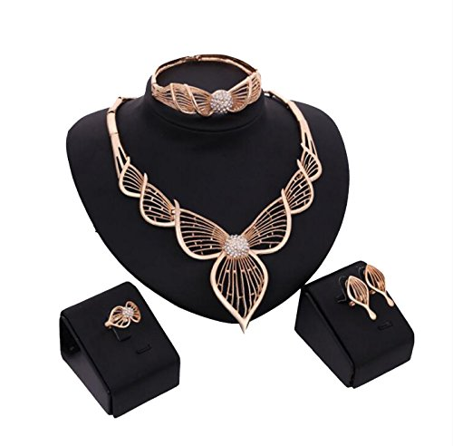 SEKAYISORE Fashion Women 18k Gold Leaf Shaped Africa Dubai Wedding Party Necklace Jewelry Set by SEKAYISORE