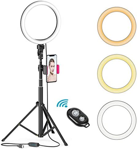 8 LED Selfie Ring Light for Live StreamMakeupYouTube Video Dimmable Beauty Ringlight with Tripod