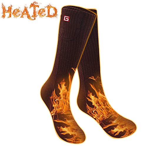 Men WomenRechargeable Electric Heated Socks Battery Heat Thermal Sox,Sports Outdoor Winter Novelty Warm Heating Sock,Climbing Hiking Skiing Foot Boot Heater Warmer(Black/Grey/Navy,L) (Brown, M)