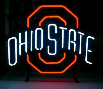 LinC Neon Sign- Ohio State Buckeyes Home Decor Light for Bedroom Garage Beer Bar and Nightclub, Real Glass Neon Light Sign for Wall Decor Art (Pink Let's get Weird)