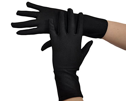 Seeksmile Adult Lycra Spandex Gloves Many Colors Available (Free Size, Black) (Adult Unisex Short)