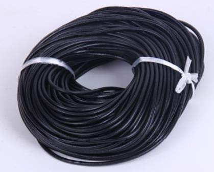 Dalab 50yards DIY Leather Art Cow Leather Rope Woven Leather Rope Belt Tanned Round Leather Rope BD057 - (Color: Black, Size: 2mm)
