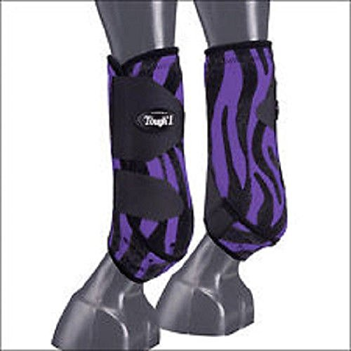 Tough-1 Extreme Front Vented Sport Boots Purple Zebra - Set of 2 Large by Tough 1