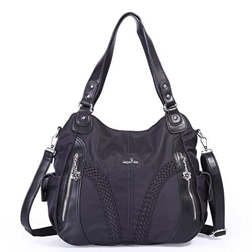 Angelkiss Women Top Handle Satchel Handbags Shoulder Bag Messenger Tote Nylon Material PU Leather Purses Bag (Black-1)