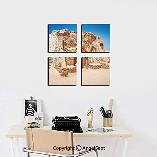 4 Piece Canvas Wall Art,One of Abandoned Sets of Movie in Tunisia Desert Phantom Menace Galaxy Wars Themed,16