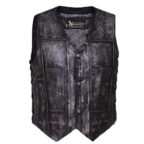 Xelement BXU6717 Urban Armor 'Tribal' Men's Grey Premium Leather Vest - Medium
