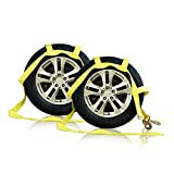 Adakiit 2 Pack Essential Vehicle Tow Dolly Straps Harness (2200 lbs Working Capacity) - Universal Towing Dolly Straps System & Claw Hook Design