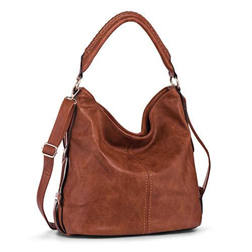 PU Leather Shoulder Bag for Women Hobo Handbag Large Capacity Crossbody Bags Top Handle Tote Purse Brown + Katloo Nail Clipper