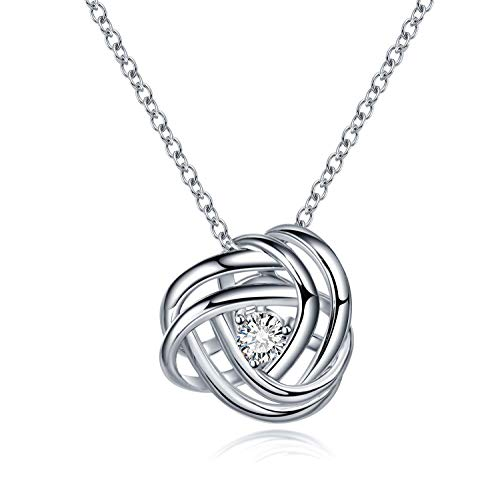 AmorAime Heart Necklace for Women 925 Sterling Silver Cubic Zirconia Love Knot Adjustable Dainty Necklace Gift for Birthday or Anniversary (Love Knot) (Knots Of Love Heart Necklace)