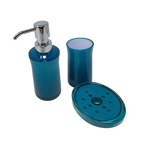 PLAIN CLEAR TEAL BLUE WHITE BATHROOM SOAP DISH DISPENSER & TOOTHBRUSH TUMBLER -
