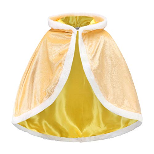 iTvTi Princess Cloak with Hood Girls Cape Kid Toddler Costume Dress up for Halloween Christmas Carnival Cospaly Yellow ()