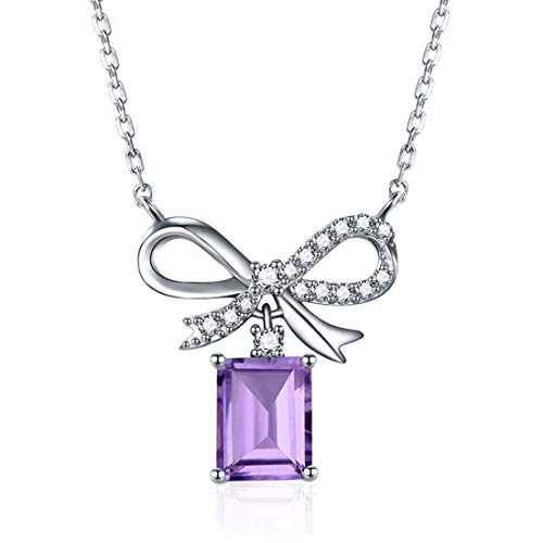 EL UNO 1.6Ct Sweet Love Bowknot Purple Amethyst Halo Pendant Necklace for Women 18