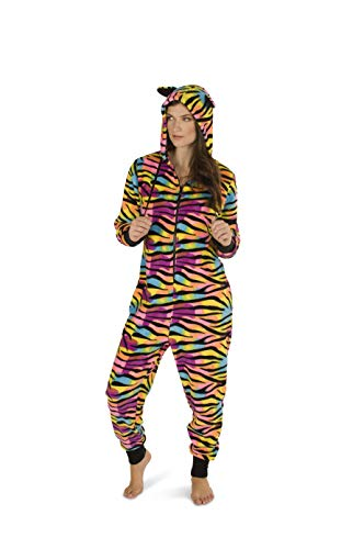 Totally Pink Women's Warm and Cozy Plush Adult Onesies for Women One-Piece Novelty Pajamas (Small, Multi Zebra) -