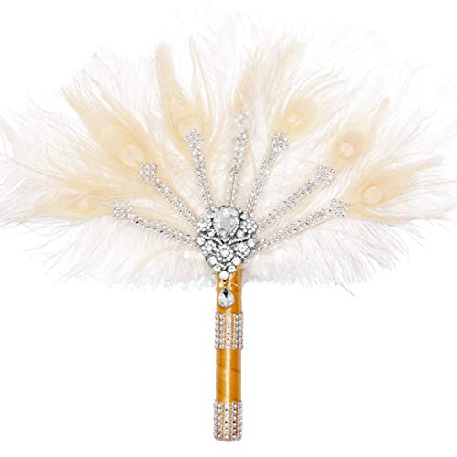 Metme Feather Fan Peacock Bridal Bouquet 1920s Ostrich Marabou Handheld Crystal Flapper Accessories for Dance - Peacock Feather Bouquet