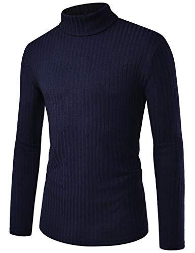 NEARKIN - Sudadera térmica de Cuello Alto para Hombre, Manga Larga, Nknkpo91-navy, US M(Tamaño de la Etiqueta M)