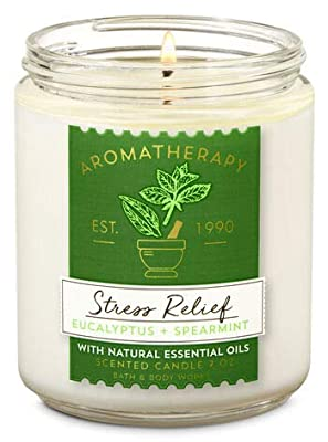 Bath & Body Works Stress Relief Aromatherapy Scented Candles | Eucalyptus Spearmint Scent | | Soy Based Wax | dfrDhp | NaturalEssential Oils | 2 Pack | 7 Oz Each