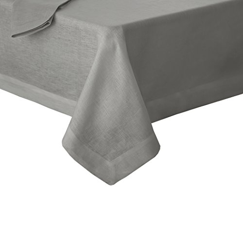 "Villeroy and Boch La Classica Luxury Linen Fabric Tablecloth, 70""x126"", Gray"