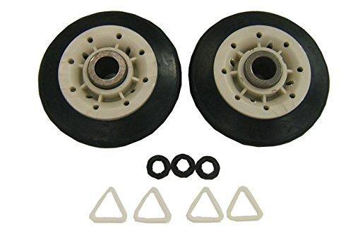 (Supco DE702T Dryer Drum Roller Set For GE WE3X89, WE3X82 Whirlpool 349241T, AP3098345, 337089, 3389901, 3397588)