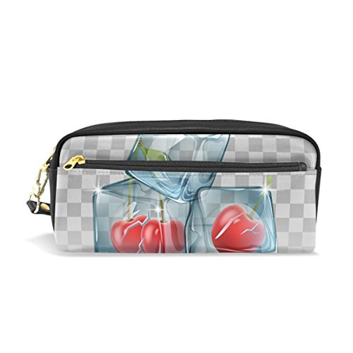 Ice Fruit Leather Student Pencil Case Cosmetic Bag Pen Makeup Pouch for Girl Boy