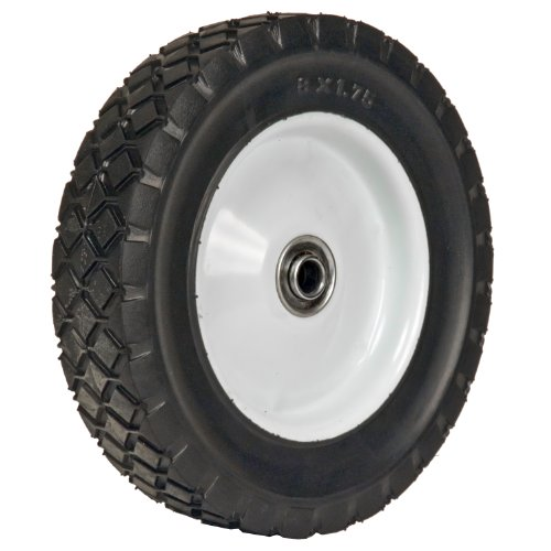 Martin Wheel 875-OF 8 by 1.75-Inch Light Duty Steel Wheel for Lawn Mower, 1/2-Inch Ball Bearing, 1-3/8-Inch Offset Hub, Diamond Tread