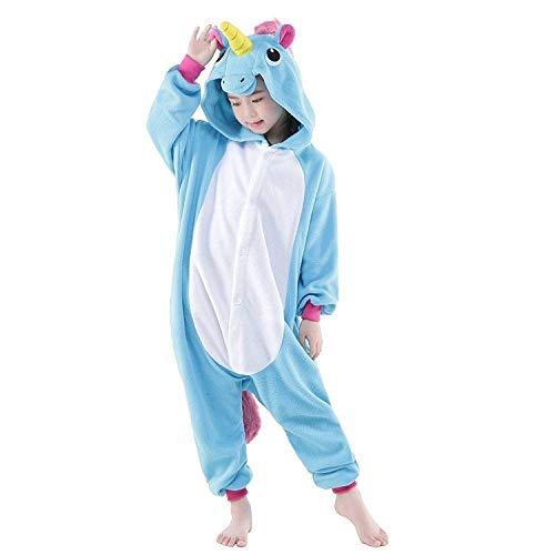Women's Sleepwear Unicorn Costume Onesie Adult Kids Pajamas Halloween Xmas Gift Christmas Costume (Kids#100,Blue-1(Kids))