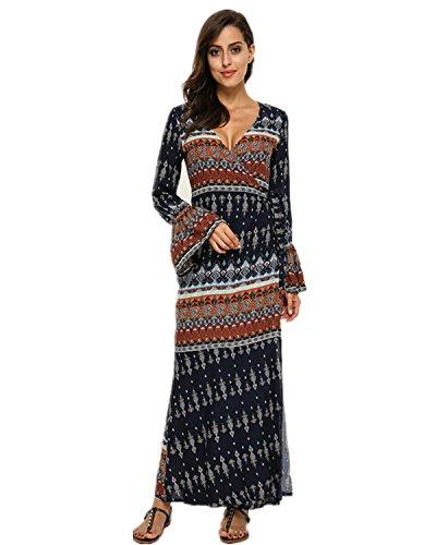 StyleDome Damen V-Ausschnitt Dünne Strandkleid Floral Boho Sleeve Paket Hip Partykleid Blau