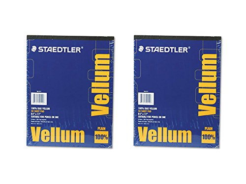 (2 Set of 50 Sheets Staedtler 16# Rag 8.5 x 11 Inches Plain Mars Vellum Paper Pad Bundled by Maven)