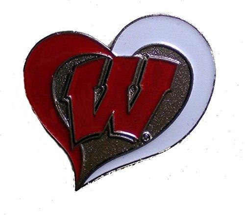 Wisconsin Badgers Lapel Pin Team Logo in Heart Design NCAA Licensed