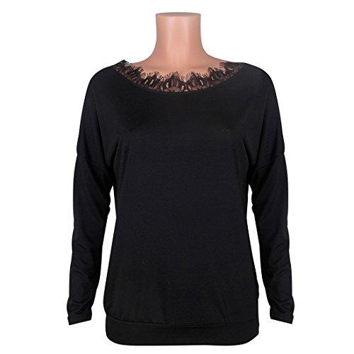 Manica E Nero Senza Camicie Donna Maglie Top Casual Blouses Sweatshirt Moda Lunga Schienale Pullover Girocollo Bluse A shirt T UXwvq5v