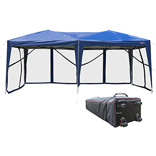 VINGLI 10′ x 20′ Pop Up Canopy Tent Mesh Sidewalls, Anti-Mosquito Screen Houses,Instant Setup Gazebos, 6 Translucent Sides Doors Sturdier Frame Anti-UV, Heavy Duty Wheeled Carrying Bag,Blue