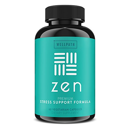 Zen Premium Anxiety and Stress Relief Supplement - Natural Herbal Formula Developed to Promote Calm, Positive Mood - with Ashwagandha, L-Theanine, Rhodiola Rosea, Hawthorne - 60 Veg. Capsules