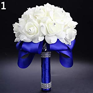YHCWJZP 1 Bouquet Bride Wedding Party Bridesmaid Rhinestone Decor Foam Artificial Flower - Blue 9