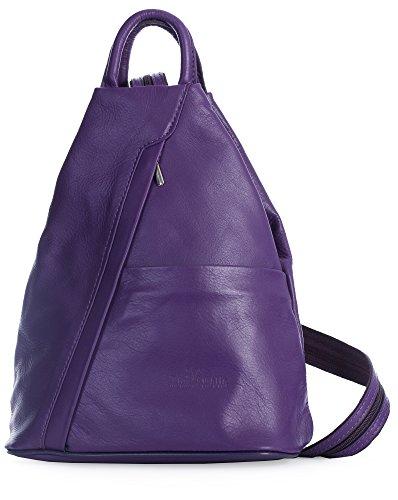 Strap ALEX Backpack Italian Duffle Rucksack Small Convertible Unisex Medium Bag Leather LIATALIA Soft Purple ZxCqFwPR