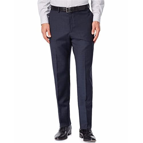 5ee2e6d410 Calvin Klein Slim Fit Navy Plaid Flat Front 100% Wool New Men's Dress Pants  free shipping