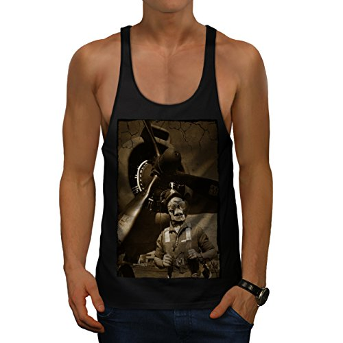 [Skull Body Costume Zombie Art Men M Gym Tank Top | Wellcoda] (High Priest Zombie Costumes)