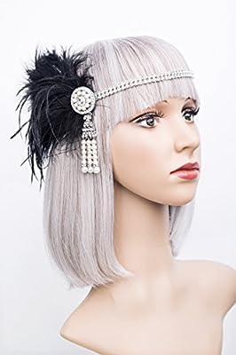 Gatsby Flapper Feather Crystal Headband 1920s Headpiece Vintage Wedding Accessories
