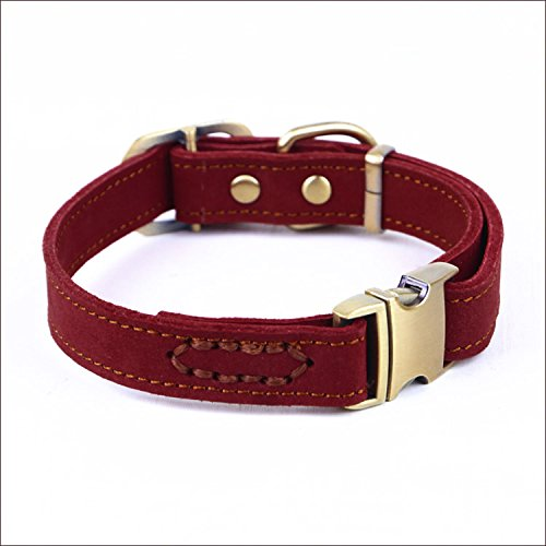 Red Large Red Large chede Luxury Real Leather Dog Collar- Handmade for Medium Dog Breeds with The Finest Genuine Leather Collar That is Stylish,Soft Strong and Comfortable (Large, Red)
