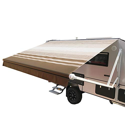 ALEKO RVAWM20x8BRSTR34 Motorized Retractable RV/Patio Awning 20 x 8 Feet Brown and White Striped