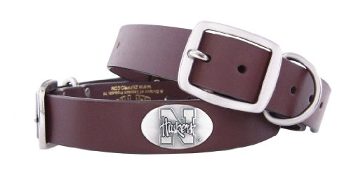 Zep-Pro Nebraska Cornhuskers Brown Leather Concho Dog Collar, X-Large