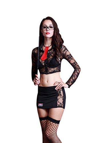 REINDEAR 9 PCs Women Sexy Professor Teacher Cosplay Costume Uniform Complete Set Nightie Racy Lingerie US (Teacher Costume)