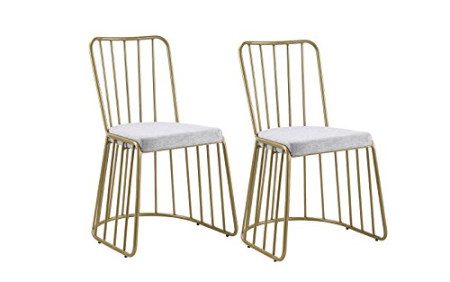 Dining Chairs Set of 2, Fabric Side Chair for Living Room 2 Pieces (Grey / Gold) by Divano Roma Furniture